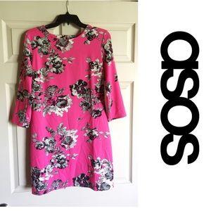 ASOS Hot pink 3/4 sleeve body con dress